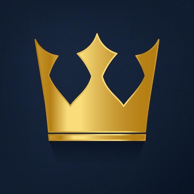 Золотая корона на синем фоне Бесплатные векторы