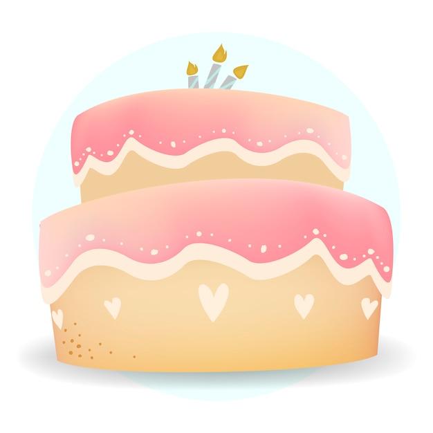 ハッピーバースデーケーキのデザインベクトル 無料ベクター
