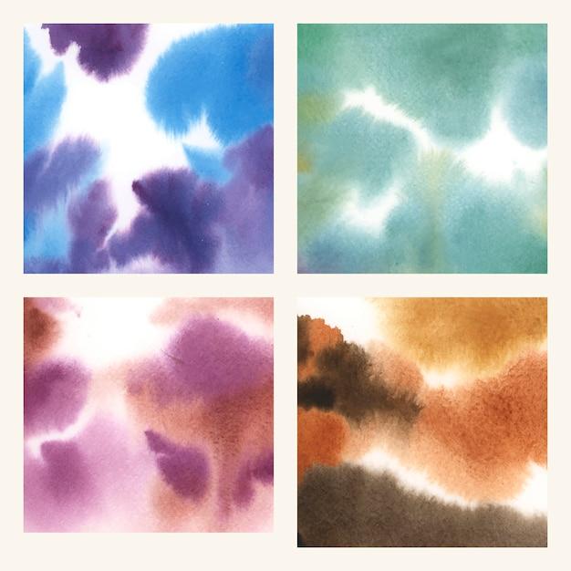 抽象的なカラフルな水彩の汚れの質感セット 無料ベクター