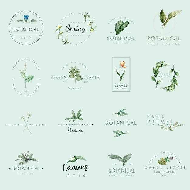 自然と植物のロゴベクトルのセット 無料ベクター