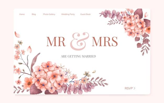 花結婚式招待状ウェブサイトのデザイン 無料ベクター