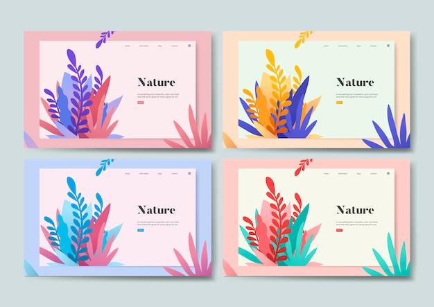 自然と植物の情報ウェブサイトのグラフィック 無料ベクター
