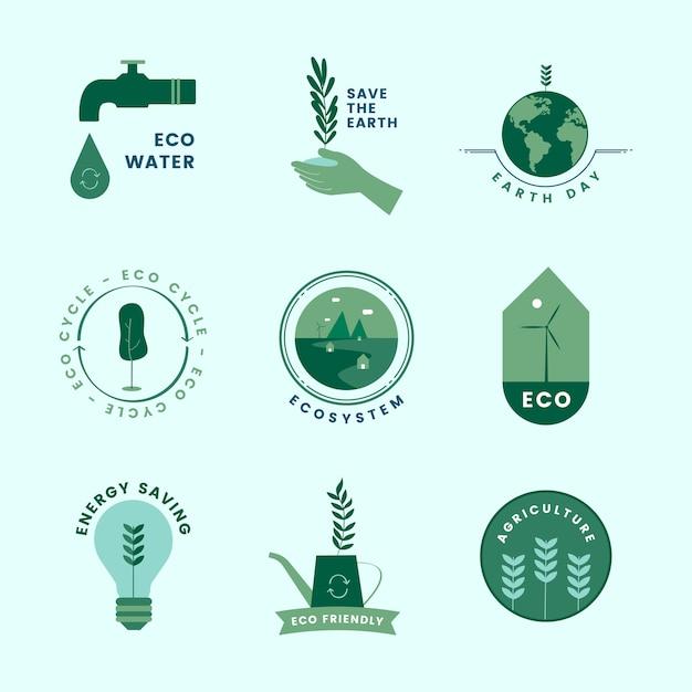 Набор органических и зеленых икон Бесплатные векторы
