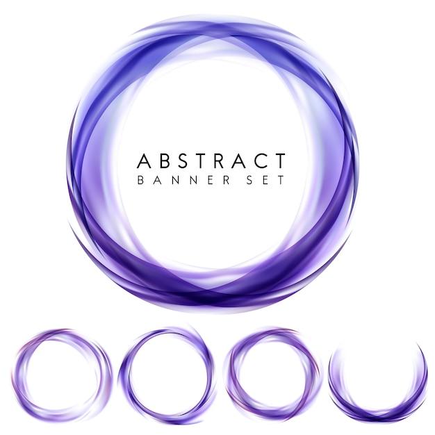 抽象的なバナーを紫色に設定 無料ベクター