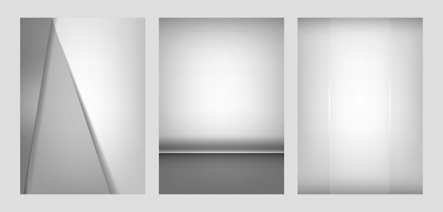 ライトグレーの抽象的な背景デザインのセット 無料ベクター