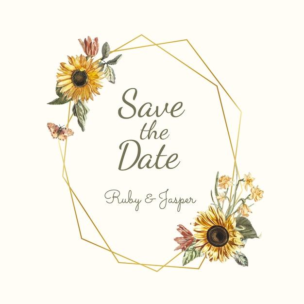結婚式招待状モックアップベクターの日付を保存する 無料ベクター
