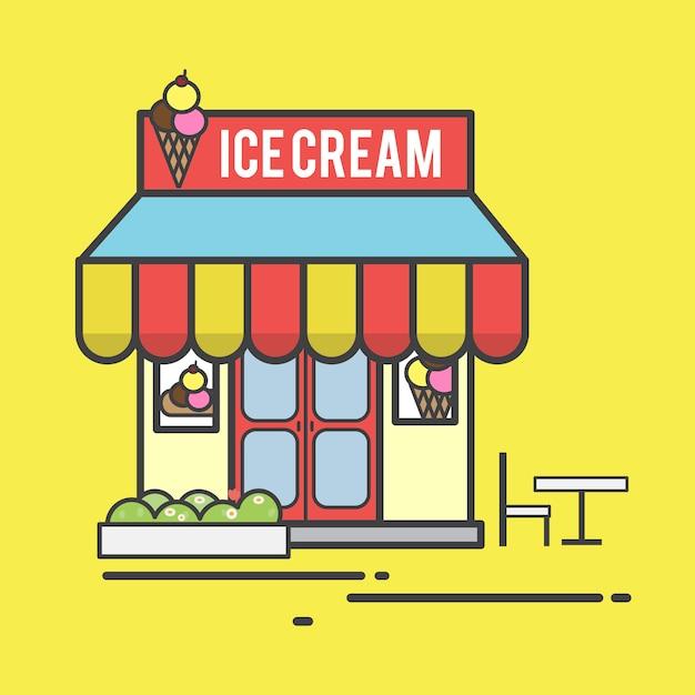 アイスクリームショップのイラスト 無料ベクター