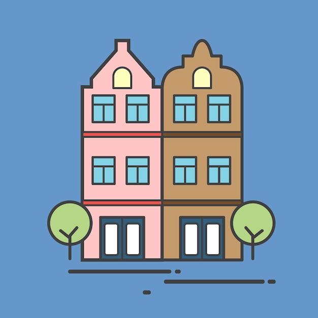 Иллюстрация многоквартирного дома Бесплатные векторы