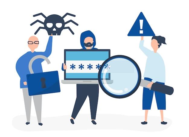 Символьная иллюстрация людей с знаками киберпреступности Бесплатные векторы