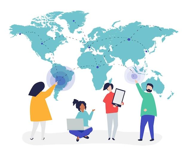 グローバルネットワークコンセプトの人々のキャラクターイラスト 無料ベクター
