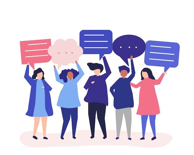 Символьная иллюстрация людей с пузырями речи Бесплатные векторы