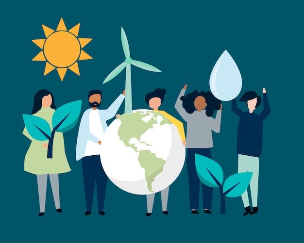 Люди с концепцией экологической устойчивости Бесплатные векторы