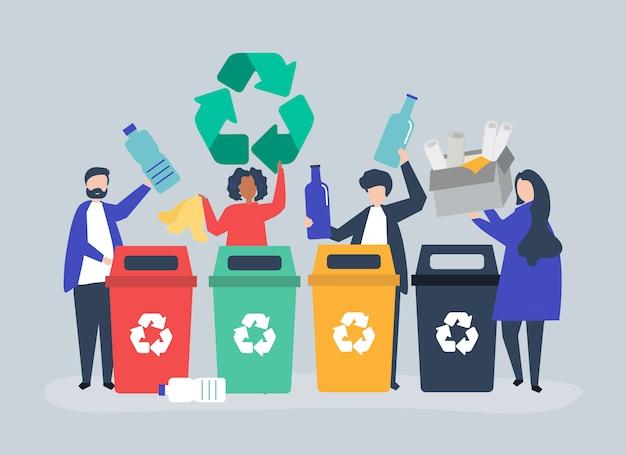 Люди сортируют мусор для переработки Бесплатные векторы