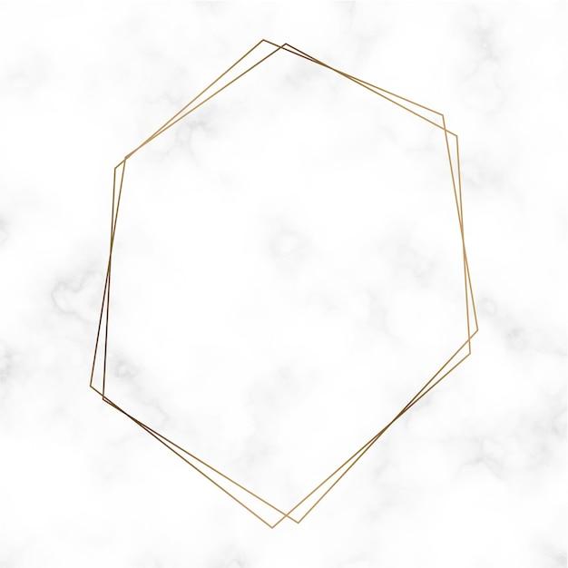 黄金の六角形フレームテンプレートベクトル 無料ベクター
