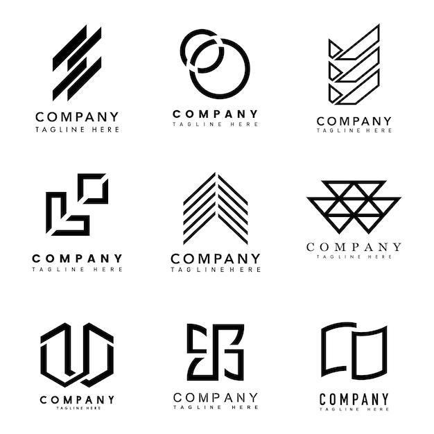Набор векторных идей дизайна логотипа компании Бесплатные векторы