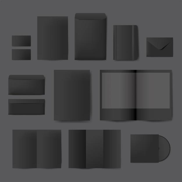 印刷物デザインのモックアップベクトルのセット 無料ベクター