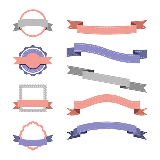 パステルバッジデザインベクトルのセット 無料ベクター