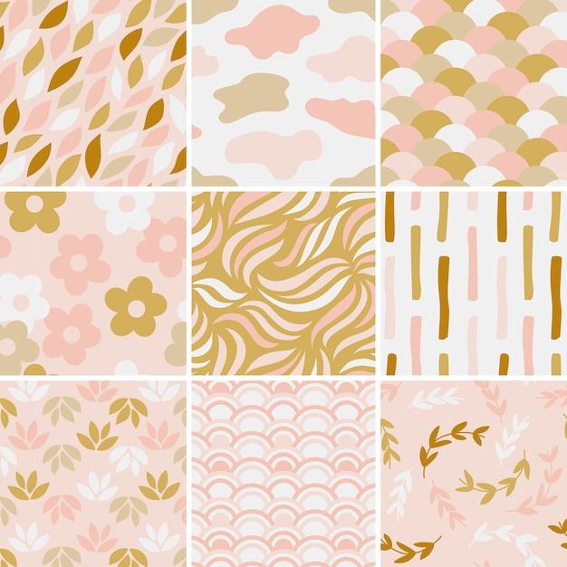 シンプルなパターンベクトルイラストのコレクション 無料ベクター