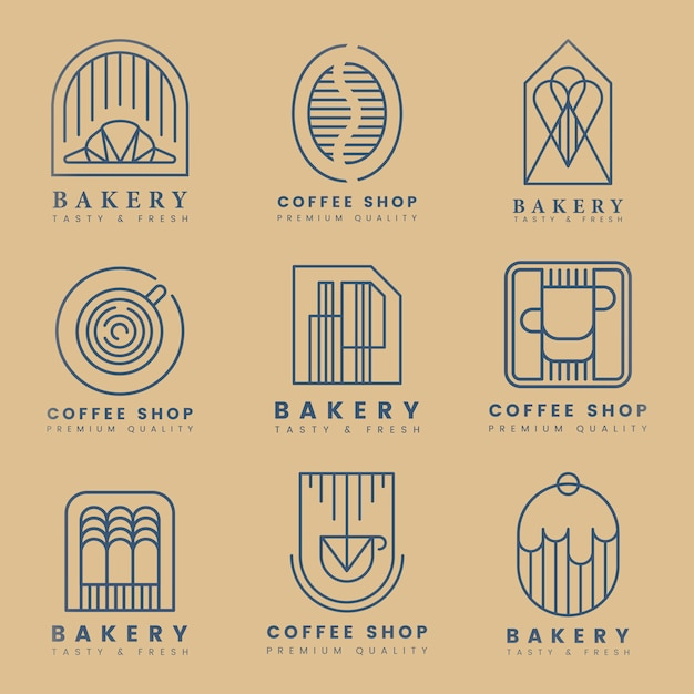 コーヒーとペストリーショップのロゴベクトルセット 無料ベクター