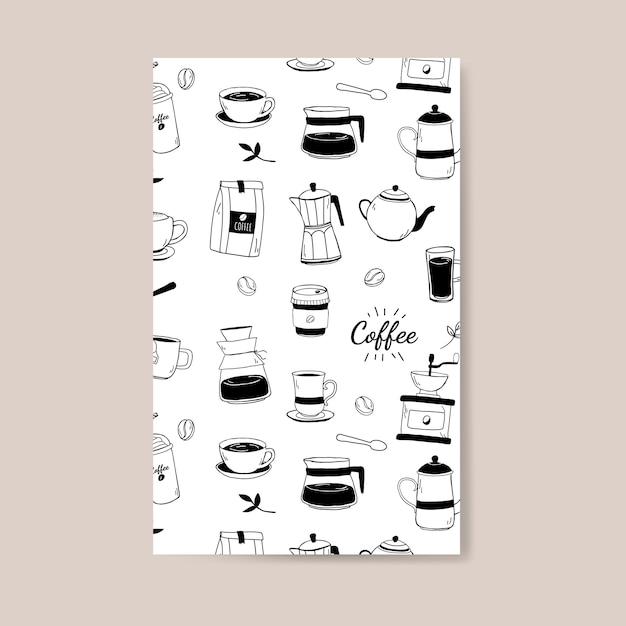 コーヒーハウスとカフェのパターンの背景ベクトル 無料ベクター
