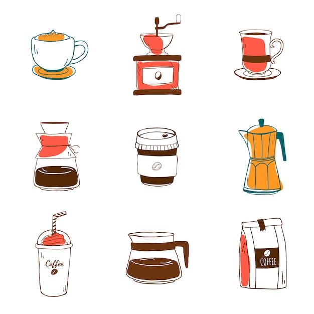 Набор иконок для кофейных магазинов Бесплатные векторы