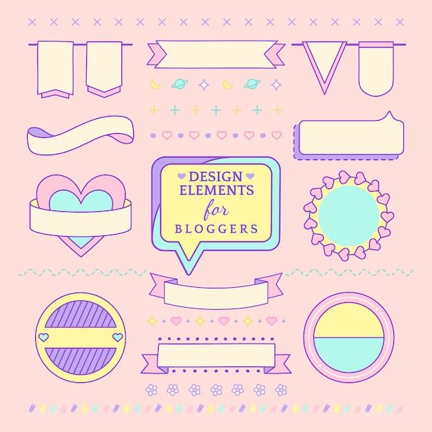 ブロガーベクトルのためのかわいいとガーリーデザイン要素 無料ベクター