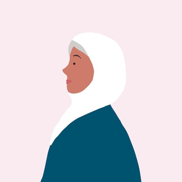 プロフィールベクトルの強いイスラム女性 無料ベクター