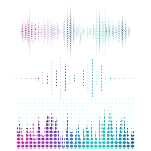Набор векторных проекторов эквалайзера звуковой волны Бесплатные векторы