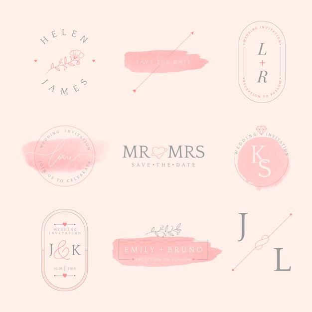 結婚式招待状バッジデザインベクトルのセット 無料ベクター