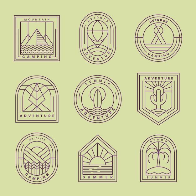 Набор векторных логотипов приключений Бесплатные векторы