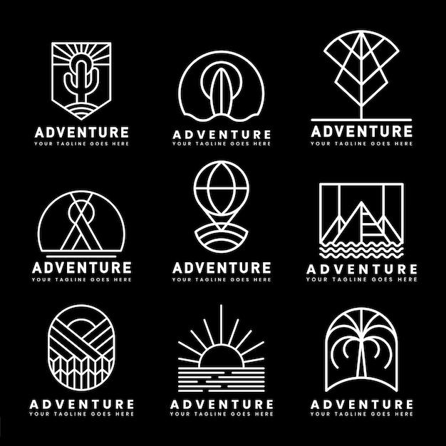 冒険ロゴベクトルのセット 無料ベクター