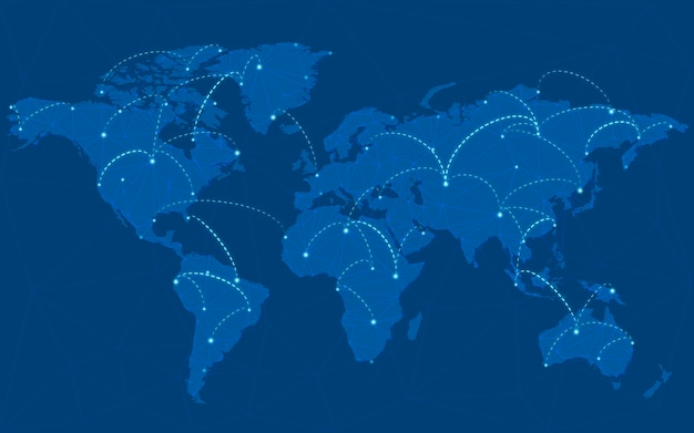 世界的な接続の青い背景イラストベクトル 無料ベクター