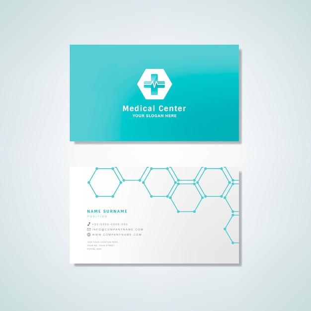 医療専門の名刺デザインのモックアップ 無料ベクター
