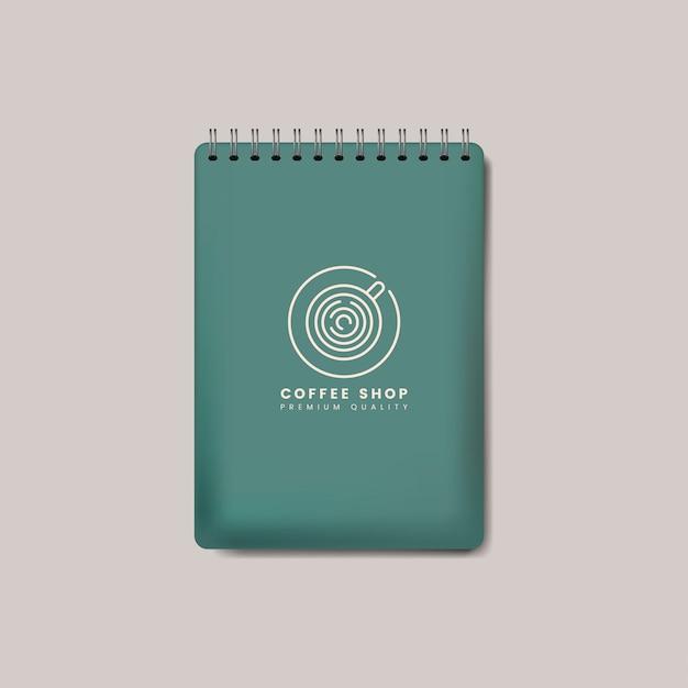 スパイラル緑ノートブックモックアップベクトルを分離 無料ベクター