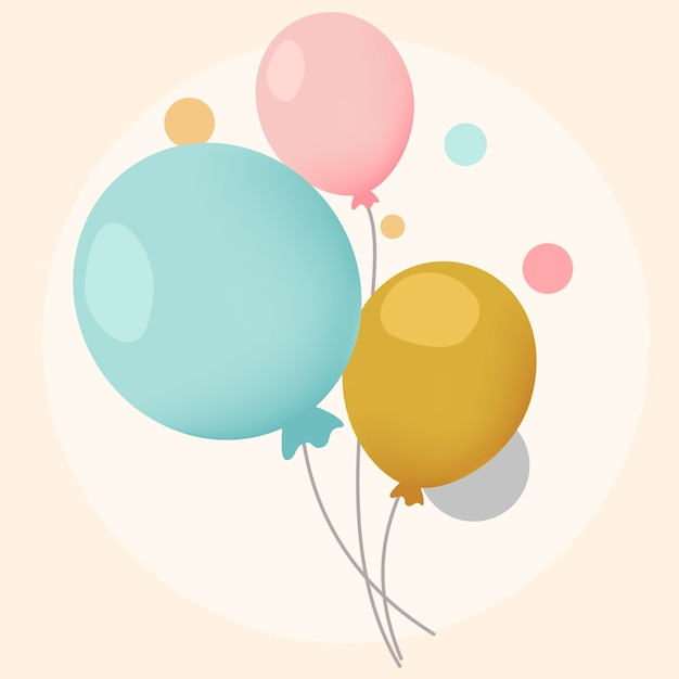 カラフルなお祝いの風船のデザインベクトル 無料ベクター