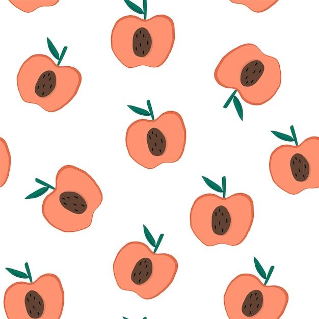 白いシームレスなパターンの背景ベクトルにリンゴ 無料ベクター