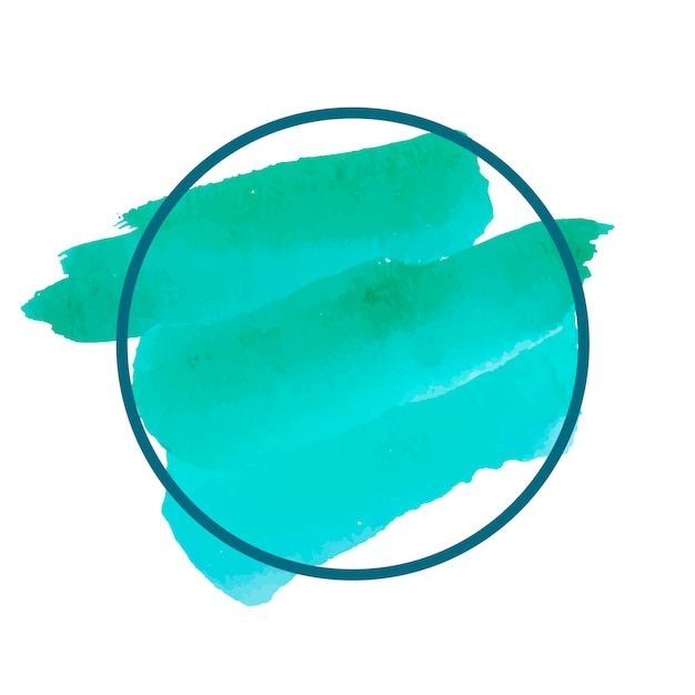 ラウンド緑の水彩バナーベクトル 無料ベクター