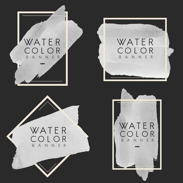 グレーの水彩バナーデザインベクトルのセット 無料ベクター