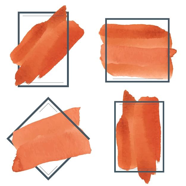 オレンジ色の水彩バナーデザインベクトルのセット 無料ベクター