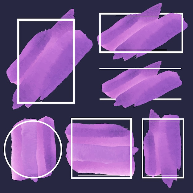 紫の水彩バナーデザインベクトルのセット 無料ベクター