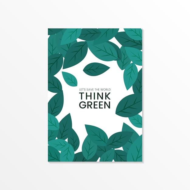 Подумайте зеленый вектор брошюры по охране окружающей среды Бесплатные векторы