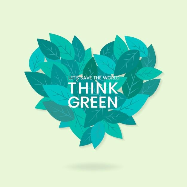 Думайте зеленый вектор сохранения окружающей среды Бесплатные векторы