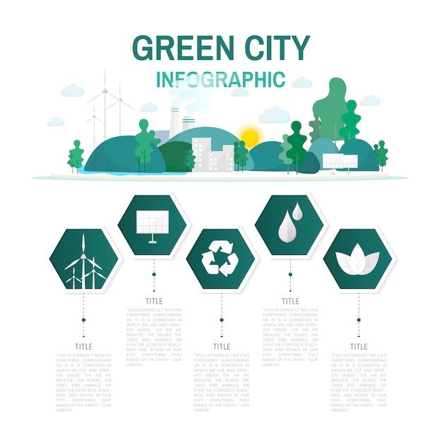 グリーン都市インフォグラフィック環境保全ベクトル 無料ベクター