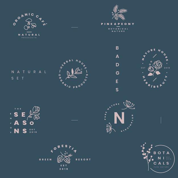 植物ロゴデザインベクトルのセット 無料ベクター