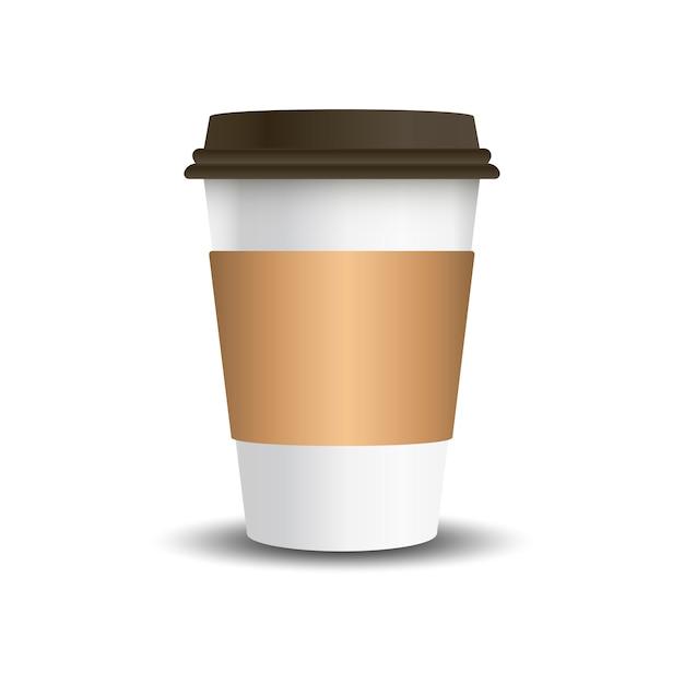 Чашка с горячим напитком с векторным рукавом макета Бесплатные векторы