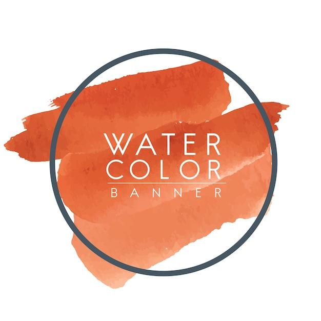 ラウンドオレンジ色の水彩バナーベクトル 無料ベクター