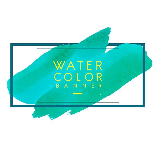 緑の水彩バナーデザインベクトル 無料ベクター