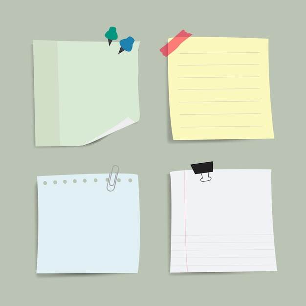 空白のメモ紙のメモベクトルセット 無料ベクター
