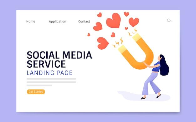 ソーシャルメディアサービスのランディングページのレイアウトベクトル 無料ベクター
