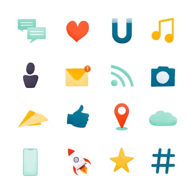 Векторный набор иконок для социальных сетей Бесплатные векторы